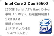 cPanel 日本語コントロールパネル 専用サーバ管理ツール Japanese Intel Core 2 Duo E6600. cPanel 250GB Serial ATA Hard Drive. 帯域 10 Mbps unlimited Monthly Transfer 転送量無制限. 8 IP addresses.